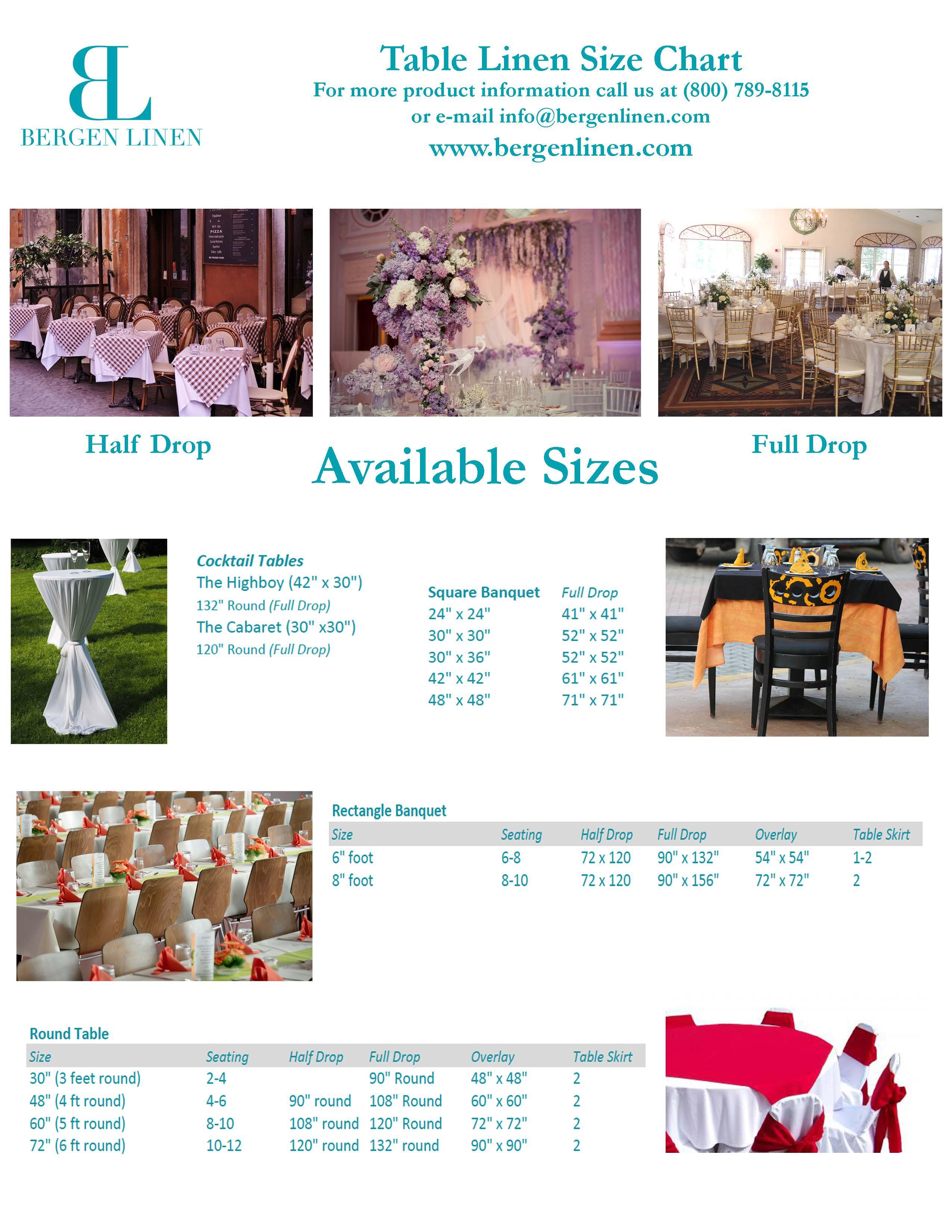 bergen linen table linen rental size guide try it today rh bergenlinen com table linen rentals vaughan table linen rentals online