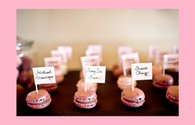 Spring 2018 wedding trends macaron place cards for weddings