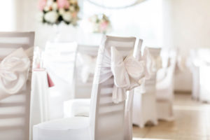 Chair Cover and sashes in white.