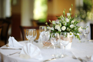 White table linens and napkins