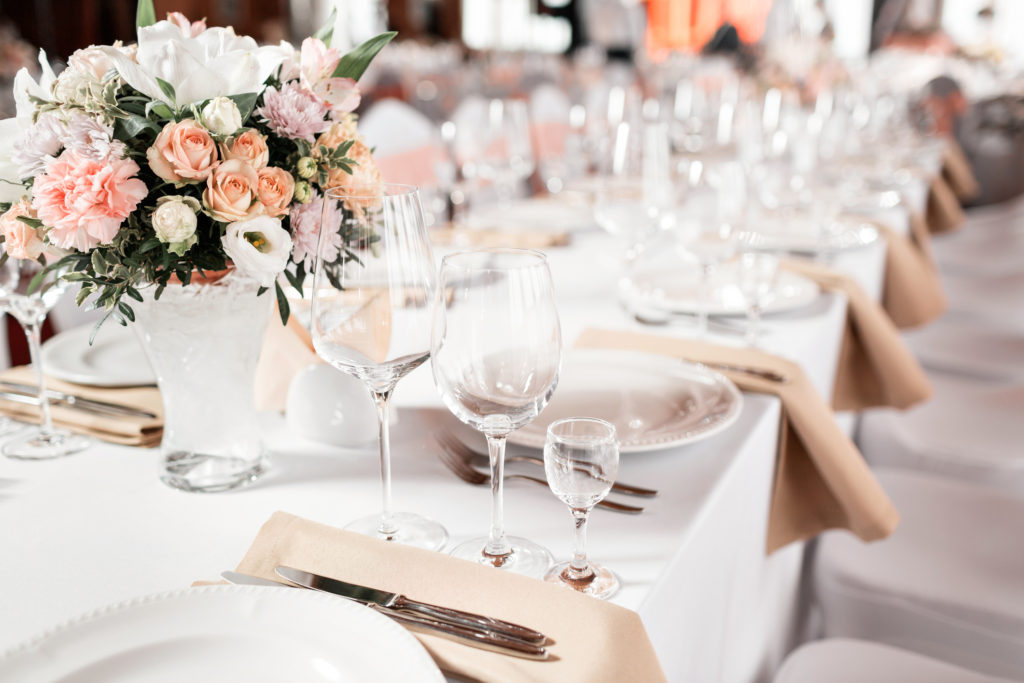 Party Linen Rentals on a table.