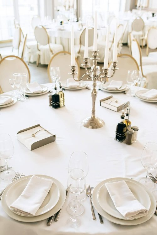 White table linens, country club linen rental service, Bergen Linen