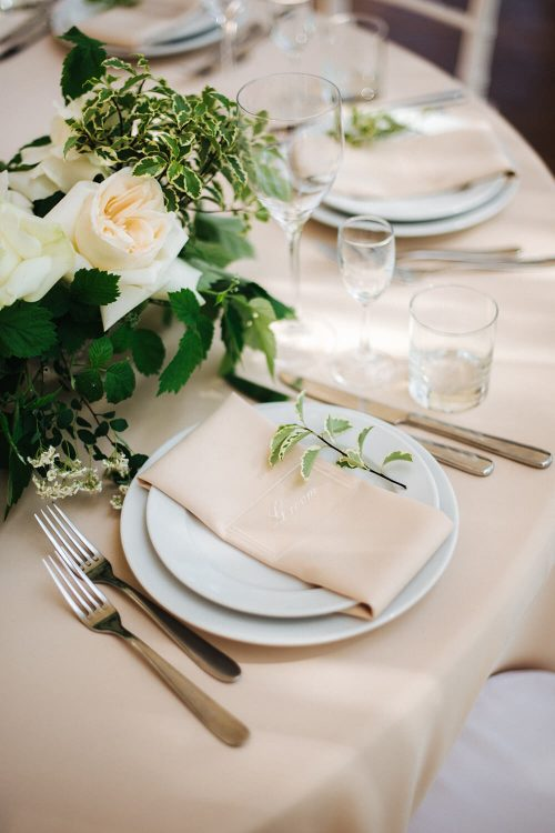 Wedding table linens - cream tablecloth and napkin rentals